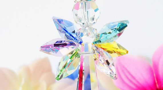 Rainbow Guardian Angel Car Rear View Mirror by CrystalBlueDesigns