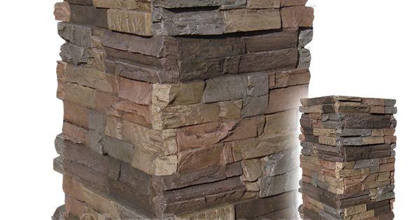 Dry Stone Pillar : Wellington dry stack medium faux stone columns are