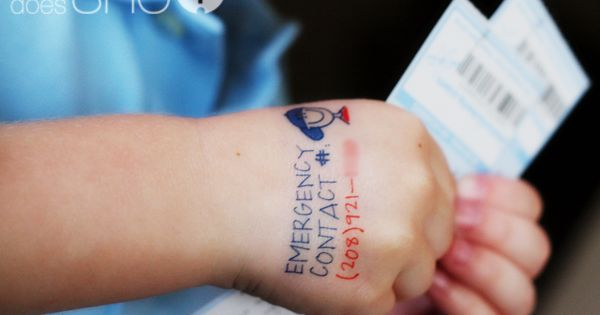 Contact number tattoo for kids