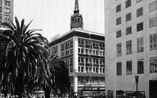 San Francisco Vintage City Of Paris With Union Square In 1950 City Ferry Building San Francisco San