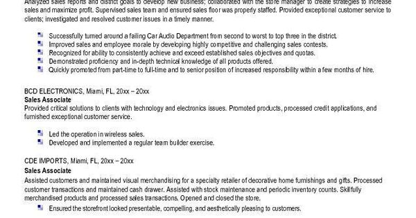 Sample Resume For Sales Associate At Retail #985