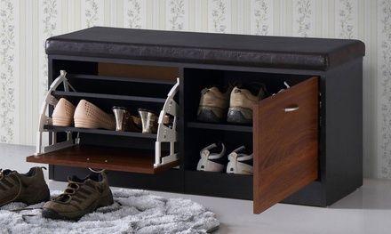 Clevedon Modern And Contemporary Dark Espresso Shoe Storage Bench