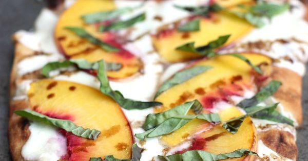 Peach, Basil, Mozzarella Flatbread with balsamic reduction ...