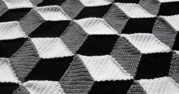 Isometric Blanket / Afghan - Geometric Black White & Grey Crochet. via