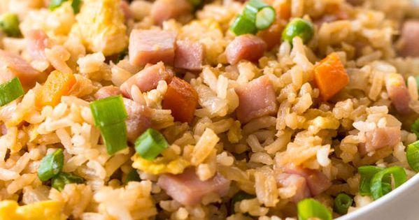 ham fried rice (Heat 2Tbsp sesame oil in lg skillet; cook 1small