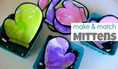 Easy make and play mitten match game fir kids. | Arts and