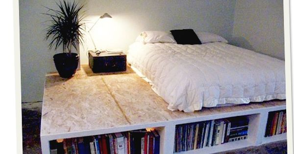 DIY Platform Bed... what a cool idea, using it for book storage!