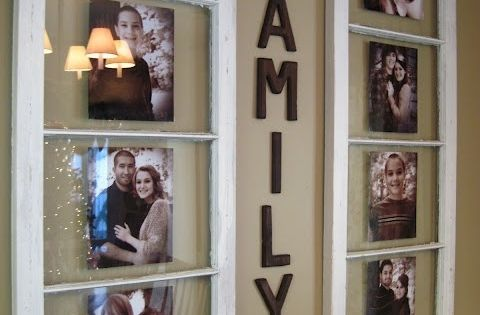 Creative DIY Ideas to Show Family Photos With Use an Old Window