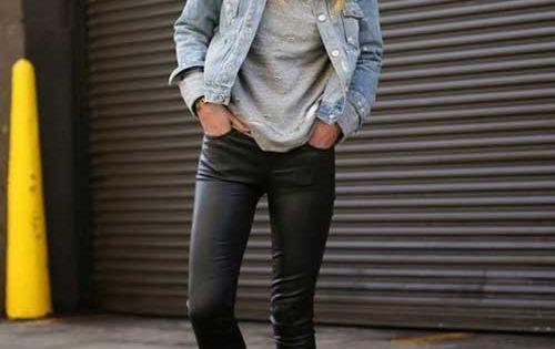 leder leggings jeans jacke kombinieren der neueste trend. Black Bedroom Furniture Sets. Home Design Ideas
