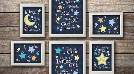 Twinkle Star Nursery Baby Nursery Art Wall Customize for no additional charge!