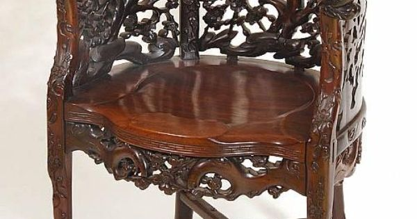 Chinese Carved Chair  Chinese rosewood chair elaborately carved