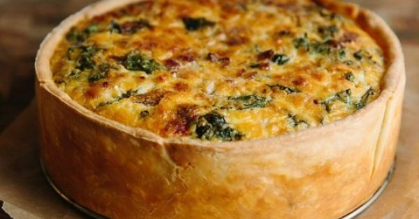 Deep Dish Quiche Lorraine With Swiss Chard And Bacon