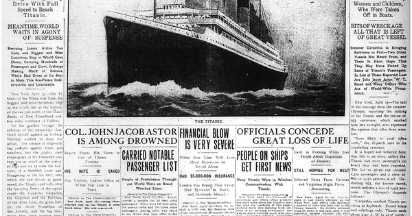 Titanic Giant White Star Liner Sinks After Collision Titanic