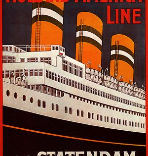 Vintage Old Transport Poster Statendam Holland US Line A4 A3 A2 A1