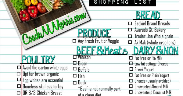 Perfect shopping list when eating clean