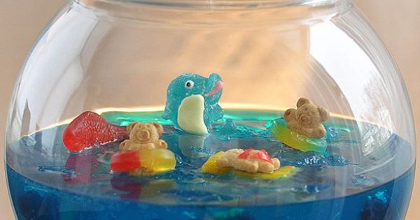 Jelly Shot Gummy Fish Bowl. (**Try making non-alcoholic version for kids' party**)