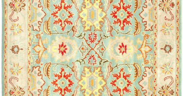 Traditional Area Rug Square Light Blue Ivory Color Safavieh Heritage Collection | Dining room ...