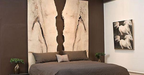 Bookmatched wood slab headboard. Amazing. mamrotu73  Bedroom.  Pinterest  Diy 벽 ...