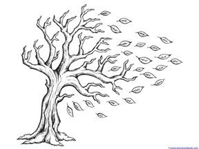 Fall Leaves And Trees Coloring Printables Tree Drawing Tree Coloring Page Colouring Printables