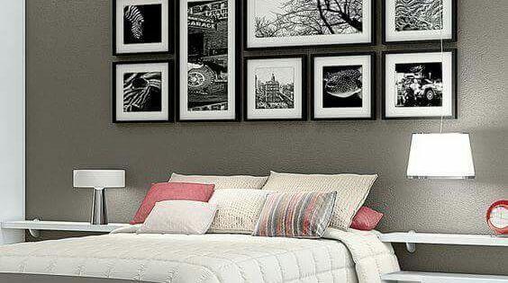 Recamara con cuadros en grises decoraci n del hogar - Cuadros decoracion hogar ...