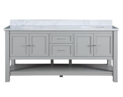 Home Decorators Collection Gazette 72 In Vanity In Grey With Marble Vanity Top In Carrara White