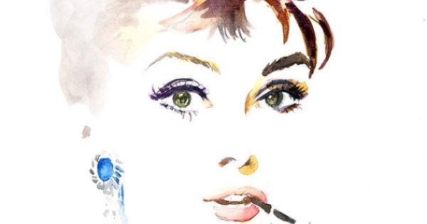I want to try to paint this with water color. audrey hepburn