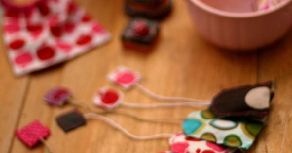 Pretend play tea bags for tea parties, made from fabric scraps. Would