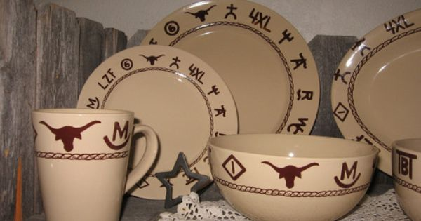 Western Dinnerware 16 Piece Branded Design Cowboy Cowgirl Dishes Kitchen Decor Western Dinnerware Western Kitchen Decor Western Dishes