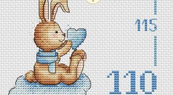 Bunny Growth Chart Counted Cross Stitch Pattern Pdf Baby Boy Etsy Birth Announcement Boy Cross Stitch Cross Stitch Patterns