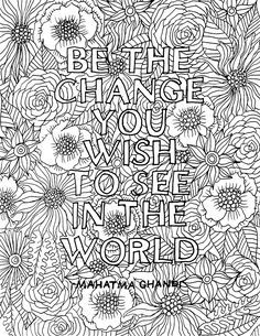 Be The Change Download For You Quote Coloring Pages Free Adult