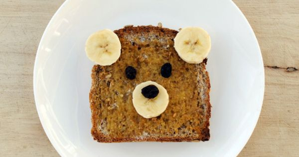 "breakfast idea: ""teddy bear toast"" using whole grain bread, peanut butter, bananas"