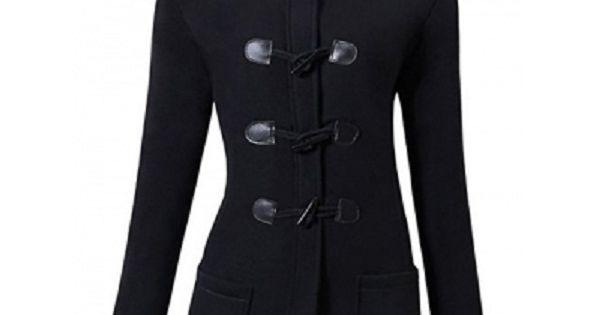 kaimus Womens Hoodie Coat Jacket Vintage Horn Buckle Solid Long Outerwear Winter Warm Overcoat