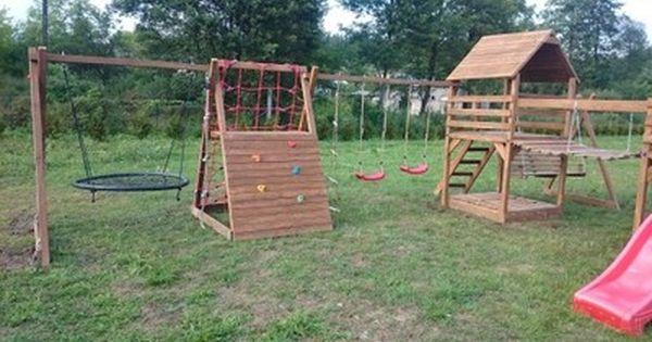 Plac Zabaw Mostek Stolik Domek Bocianie Gniazdo 6771429775 Oficjalne Archiwum Allegro Park Slide Structures Park