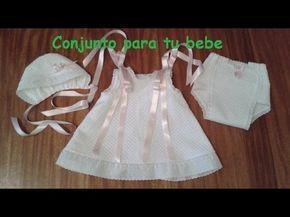Faldon En Pique Con Ranita Y Capota Youtube Patrón Vestido Bebe Ropa Bebe Niña Ropa Bebe