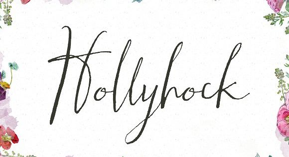 Meet Hollyhock, a modern and messy calligraphy font with wild, tall letterforms that refuse to be tamed