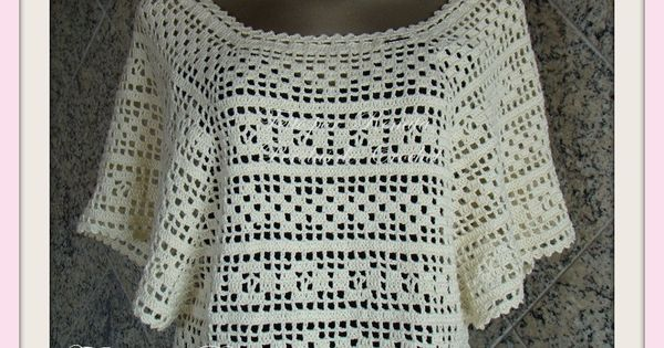 Crochet Stitches Loose : Loose blouse poncho with diagrams crochet clothes Pinterest ...