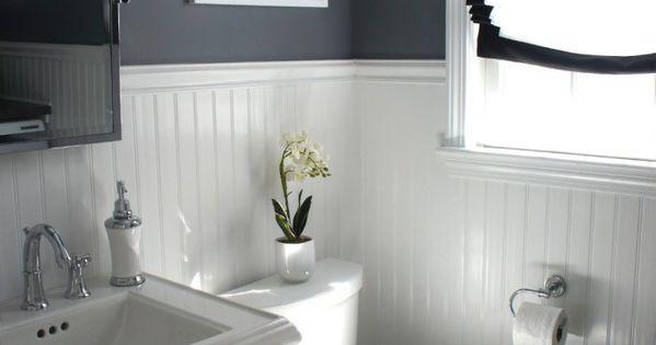 Navy Bathroom With Beadboard - Google Search
