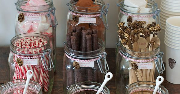 Loving the hot chocolate bar ideas! Put the hot chocolate in a