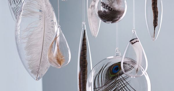 Floating Feather Christmas Ornaments by Roost - holiday decorations - Seltzer Studios