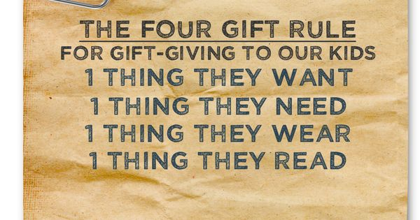 The four gift rule. Gift ideas. Christmas for kids. Christmas
