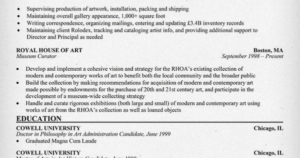 free  art  administrator resume example  resumecompanion