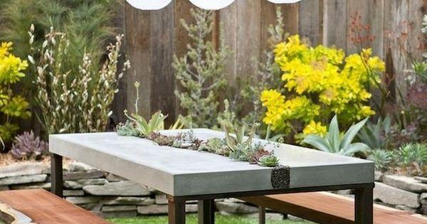 gartentisch beton metall pflanzgef sse dachterrasse pinterest g rten metalle und m belideen. Black Bedroom Furniture Sets. Home Design Ideas