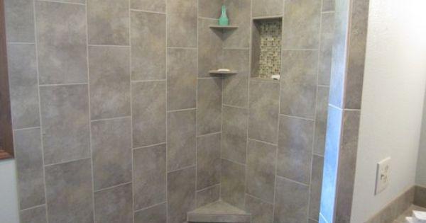Large format tiles in vertical design yelp bathroom for Bathroom remodel yelp