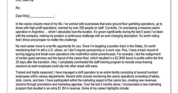 cover letter example for casino operations professional