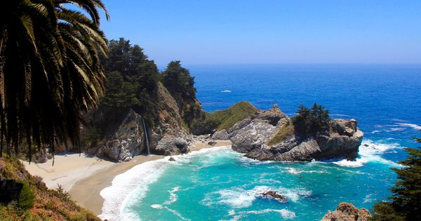The famous beach waterfall at Julia Pfeiffer Burns State Park, Big Sur.