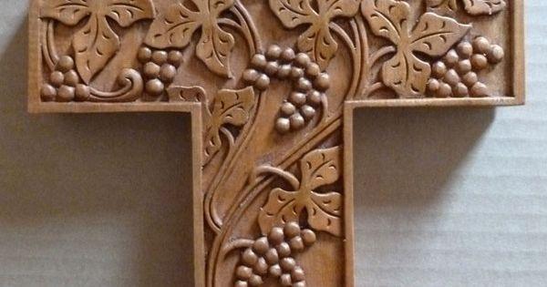 Stylized grape vine carved cross vinyard pinterest