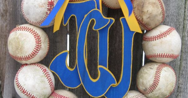 Baseball Wreath with Three Letters!! I !