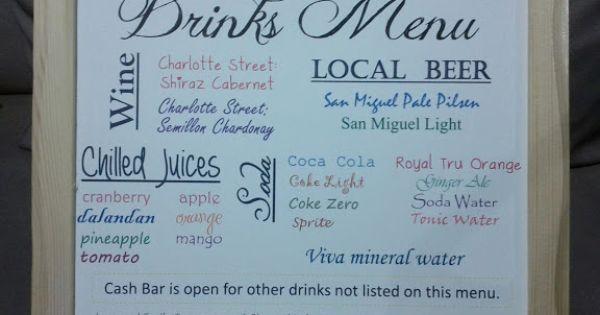 Found On Weddingbee Com Share Your Inspiration Today Bar Menu Wedding Drink Menu Menu