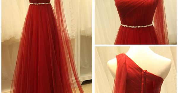 One shoulder red tulle prom dress Handmade item Materials: Chiffon,satin,lace,tulle Made to