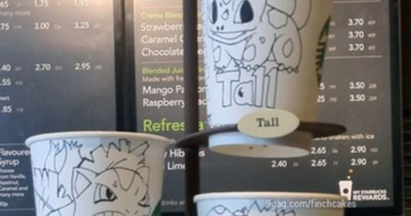 Starbucks Cup Sizes Explained With Pokémon. Oh it all makes sense now!!